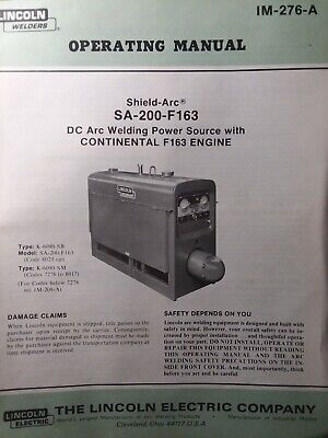 Lincoln Sa-200 Dc Welder Owner Parts Service Manual Pipeliner Gas Engine 1981