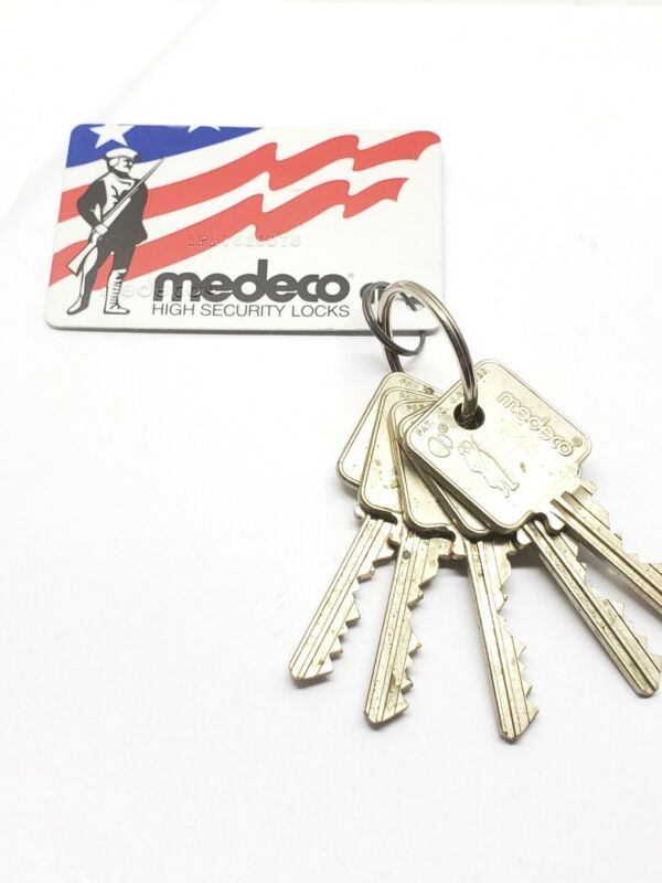 medeco patriot biaxial cut keys, set of 5, 6 pin, with card, locksmith