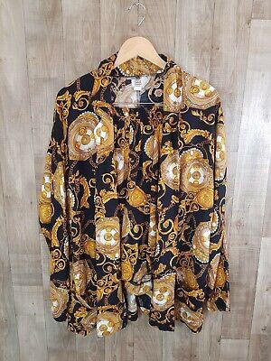 Vintage Czavra Savage Barocco Suit Blazer Shirt and Shorts Black Gold Womens