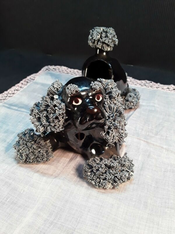 Black Vintage  Large SPAGHETTI poodle planter