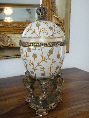 Porzellan Dose Löwen Bronze Vase Deckeldose Prunkgefäß Craquele Schatulle Antik