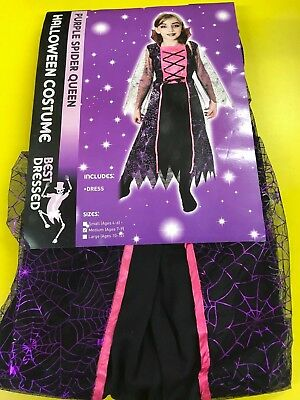 Halloween Girls Purple Spider Queen Fancy Dress Costume - Age 7 - 9 Yrs](Halloween Costumes For Girls Age 9)