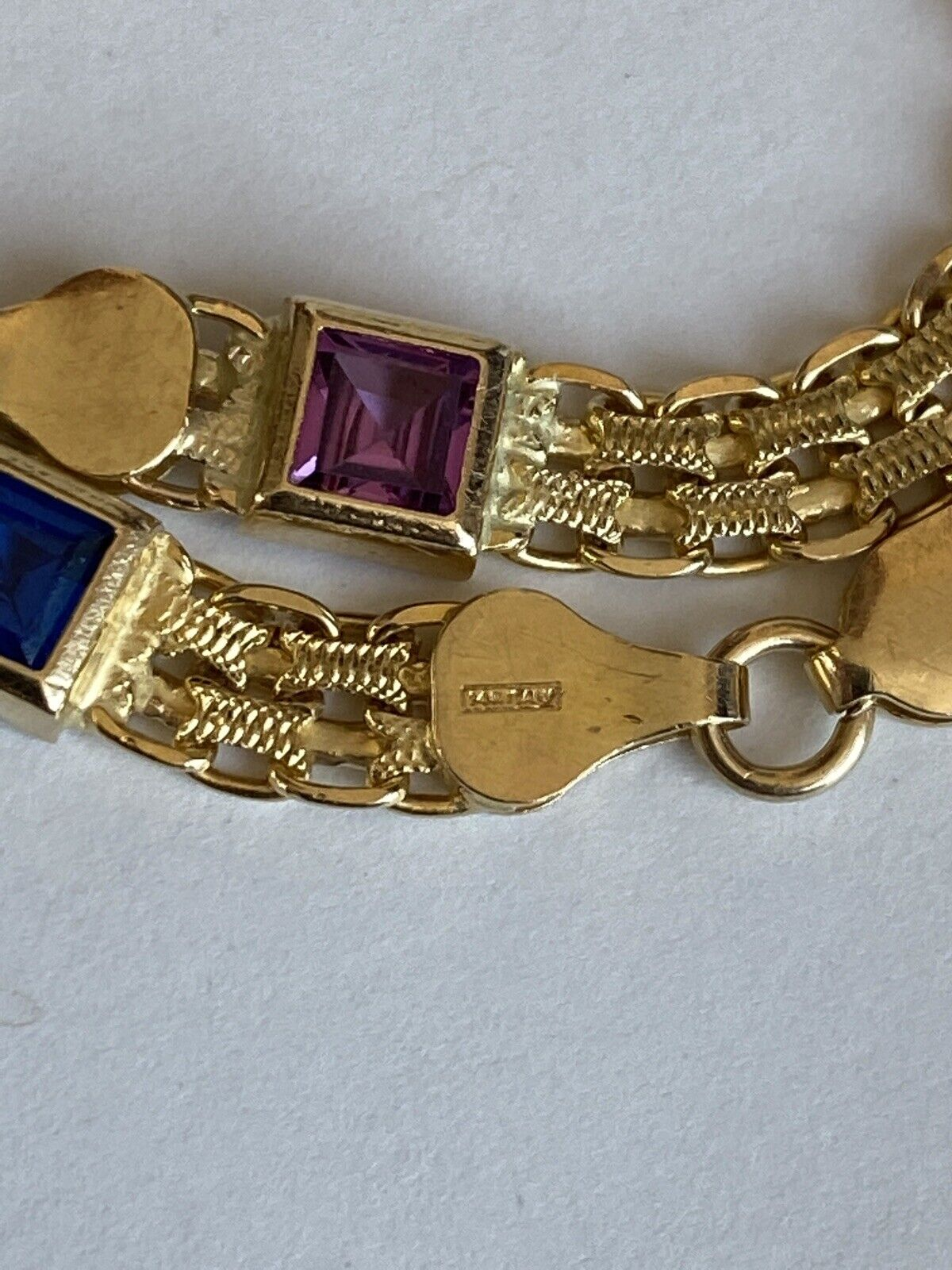 14k Yellow Gold w/ Colored Stones Women's Bracelet 6.3mm  7 1/4 Inches PRETTY!!! 9