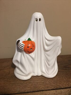 Vintage Russ Ceramic Ghost Candle Holder Halloween Jack O Lantern Costume Face