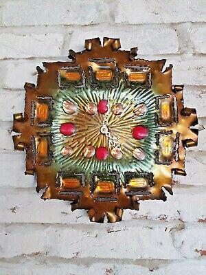 Mid Century Brutalist Studio Laurana Rame Arte Italy Enameled Copper Wall Clock