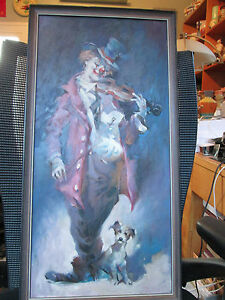 Rare-Signed-Julian-Ritter-Original-Clown-Oil-Painting