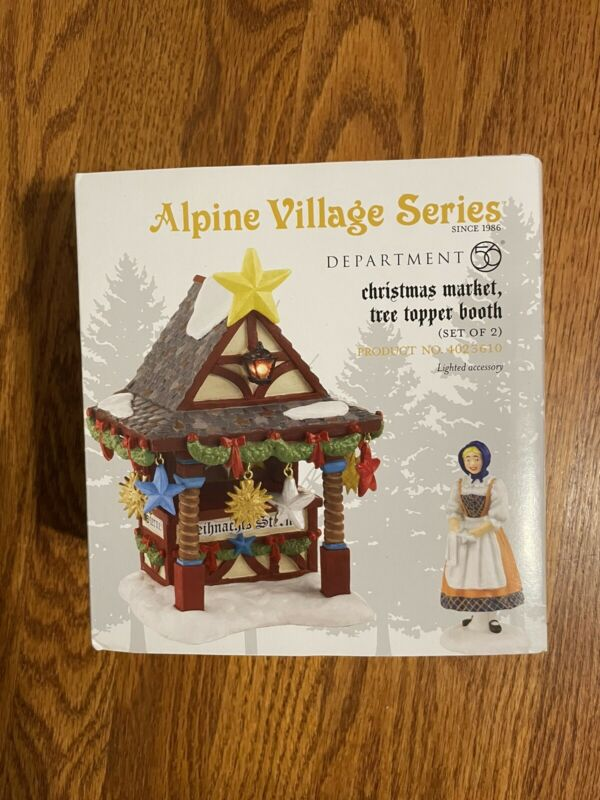 DEPT 56 Alpine Village CHRISTMAS MARKET The Tree Topper Booth NEW SEALED