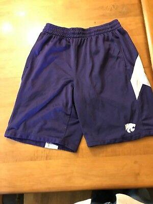 Mens Athletic Shorts Purple K-STATE POWERCAT WILDCATS LOGO Kansas L 36-38 - K State Powercat
