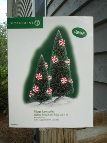 DEPT 56 GENERAL VILLAGE Accessories LIGHTED PEPPERMINT TREES NIB