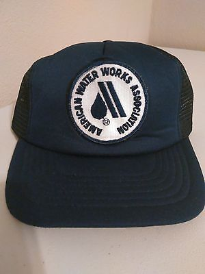 Vintage American Water Works Association Blue Trucker Snapback Patch