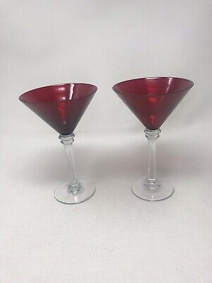 Over Sized Ruby Red Beveled Martini Glasses, Hand Blown, Collectible ](Oversized Martini Glass)