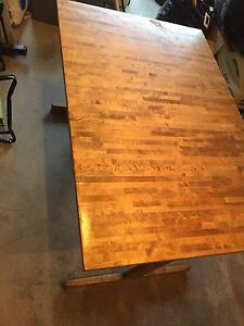 Wood kitchen table with extension