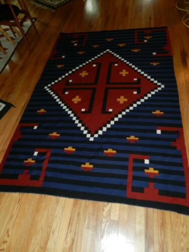 NAVAJO,RUG,GANADO,HUBBELL REVIVAL,STEPPED CROSS,EXTRA LARGE,64X96,EXCELLENT