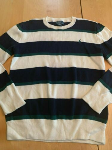 POLO BY RALPH LAUREN NAVY BLUE GREEN & CREAM SWEATER SZ L 14-16