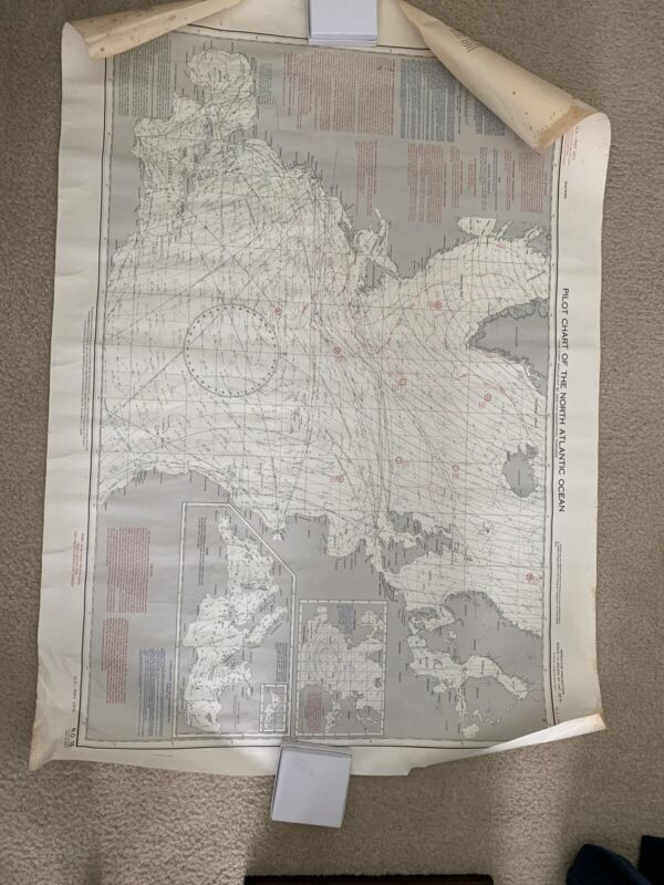 Pilot Chart Of The North Atlantic Circa 1973