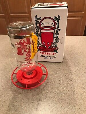 BEST-1 Glass Bottle HUMMINGBIRD FEEDER  32 OZ BEE PROOF EASY CLEAN** MADE IN