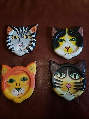Vintage Tiger Lily~4 Cat Coasters~ Wooden Painted Faces~Made in Indonesia