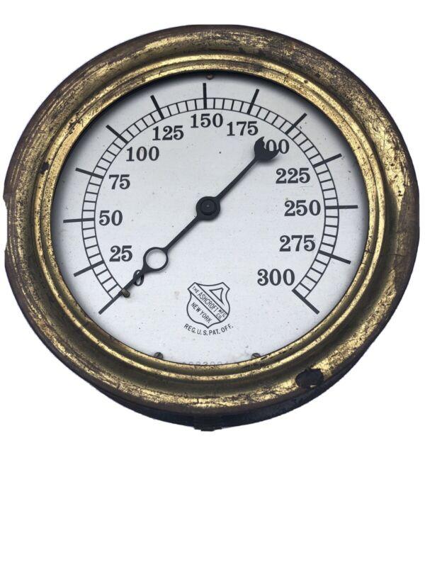 """Antique Ashcroft Steam Pressure Gauge 300 PSI 6"""" Steam Punk Gage"""