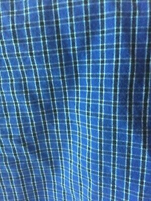 - Nautica Full fitted sheet blue mini plaid cotton excellent