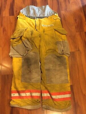 Firefighter Janesville Lion Apparel Turnout Bunker Pants 34x30 2005 Orange Trim