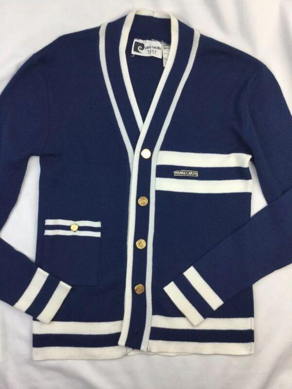 Vtg Women Cardigan Blue sweater Pierre Cardin acrylic Italy size XS S