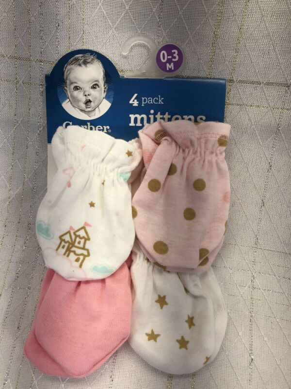 New Gerber 4 Pack Baby Girl Scratch Mittens Gloves 0-3 Months Princess Star Pink