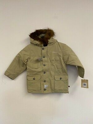 Woolrich Boys Down Waterproof Arctic Parka Jacket Coat Tan NWT Small Size 4