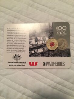 Anzac 15 coin set with rare 2015 ww1 war Heros red poppy $1 Tamworth 2340 Tamworth City Preview