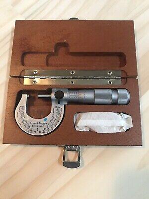 Vintage Brown Sharpe Micrometer Caliper 0 - 1 Inch Usa Machinist Tool
