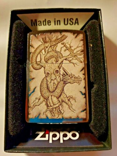 Zippo Lighter Brushed Chrome Dragon & Tree Design New In Box Made In USA