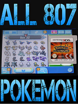 GENUINE POKEMON ULTRA SUN WITH ALL 807 SHINY POKEMON NINTENDO 3DS / 2DS MOON