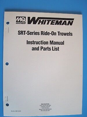 Mq Whiteman Srt-series Ride-on Power Trowels Instruction Manual Parts List