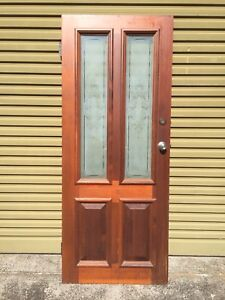 Western Red Cedar Entry Door With Frosted Glass