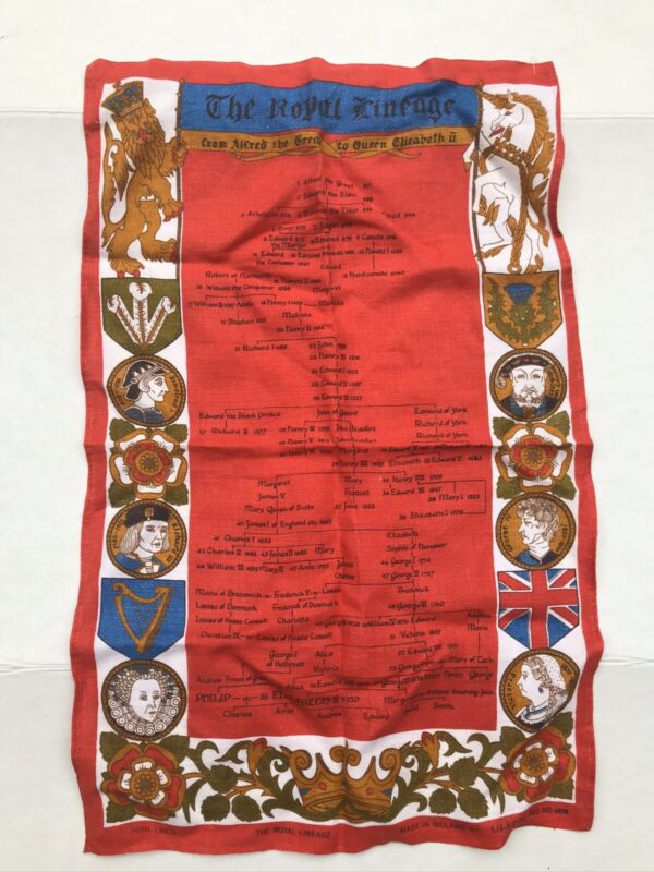 Vintage Ulster Irish Linen Tea Towel The Royal Lineage Print Red