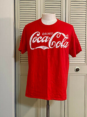 Drink Coca Cola Vintage Distressed Red Men Shirt Size XL