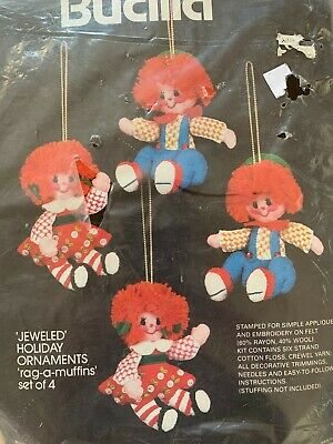 "Bucilla JEWELED holiday 4 ornaments applique kit ""RAG-A-MUFFINS"" doll #48783 VTG"
