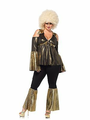 70's Disco Diva Style Plus Size Pantsuit 2 Piece Black & Gold Sexy Disco Costume - Plus Size 70s Costumes
