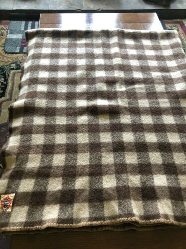 """Vintage Antique  AYERS Brown Checked Blanket 64"""" x 72 """" 100% Wool"""