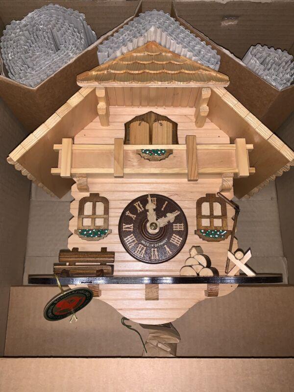 NEW German Black Forest Natural Wood Chalet Cuckoo Clock ~ Herbert Herr