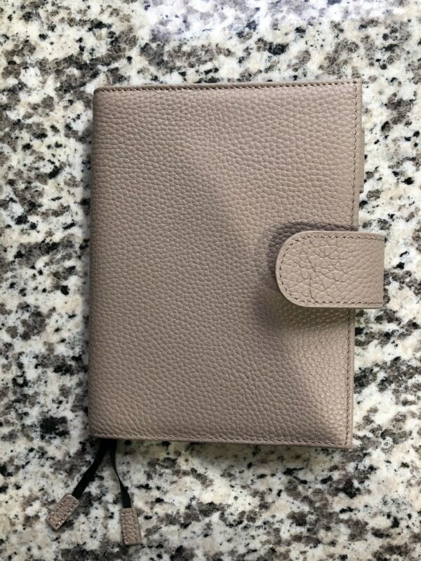 Moterm A6 Notebook Cover Taupe Pebbled Litchi Leather HP Hobonichi Planner