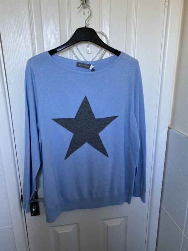 Mint Velvet NEW star cashmere blend Baby  Blue  jumper size 18 BNWT