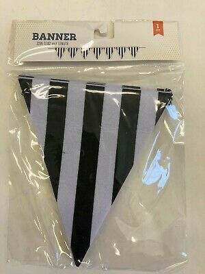 1 black and white pennant banner sports party tailgating decor  72