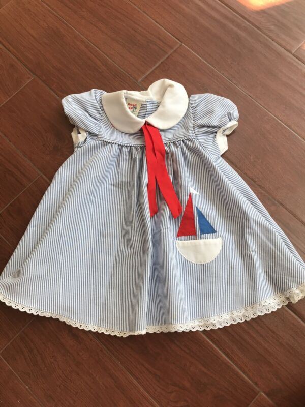 Vintage Toddler Good Lad Striped Sailor Dress Sailboat Seersucker Sz 4T Preppy