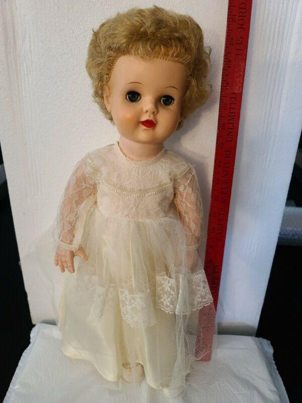 "Vintage soft  Rubber Squeaker Doll 20"" Vintage Party Dress"