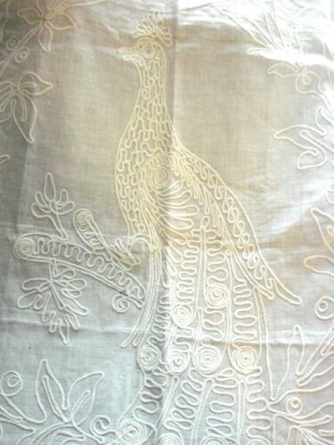 "Vintage LACE  Antique Embroidered PEACOCK Bird Lace Trimmed 29x38"" Tablecloth"