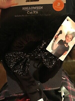 Cat Headband And Tail (Cat Kit Includes 3 Pieces Headband, Bowtie And)