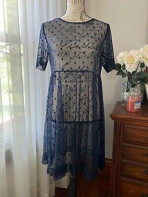 Agnes & Dora Navy Short Mesh Easy Dress Small - fits more like Medium