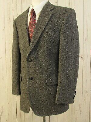 Jos A. Bank Harris Tweed Wool Grey Blazer 44R Herringbone 2 Button Sport Coat