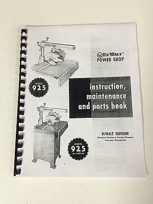 DeWalt AMF Power Shop Radial Arm Saw Model 925 User Manual -PAPER COPY