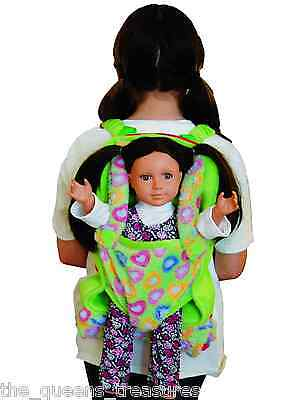 "Child's Backpack & Doll Carrier Sleeping Bag For18"" American Girl Clothes Green on Rummage"